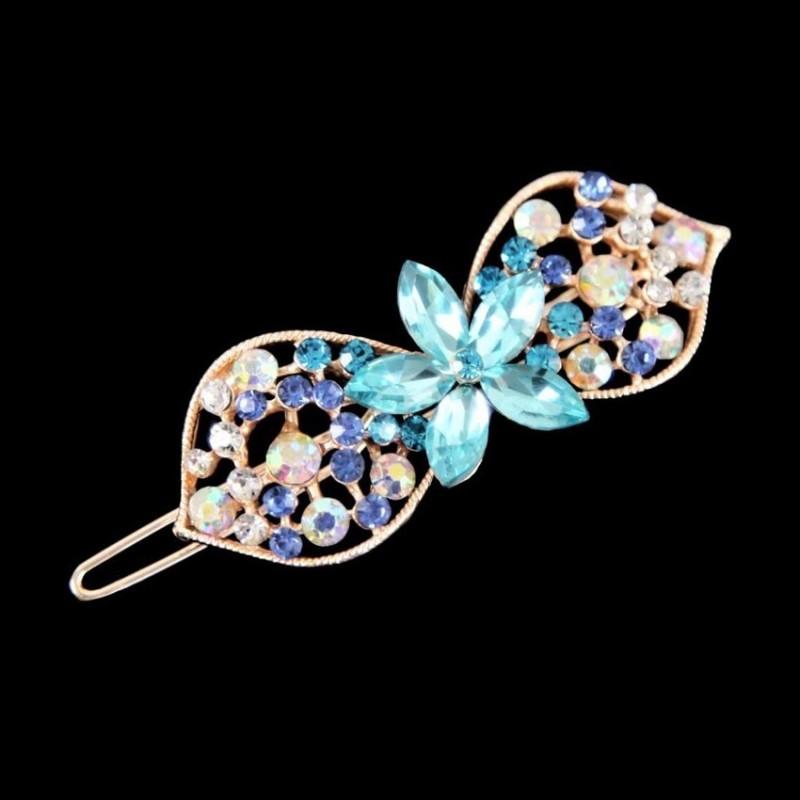 Barrette clip cheveux cristal bleu