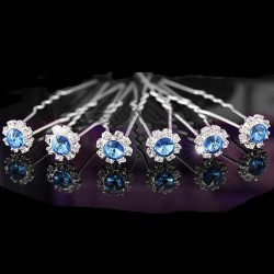 6 épingles fleurs cristal bleu