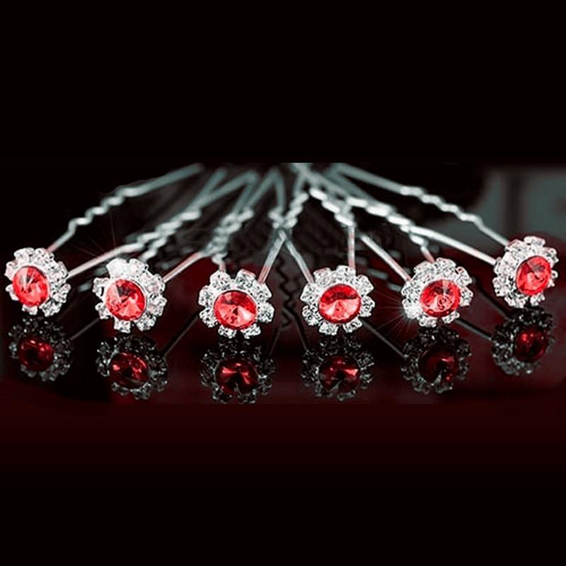 6 épingles fleurs cristal rouge