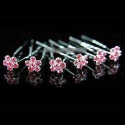 6 epingles cheveux cristal fleurs roses