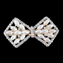 Barrette clip cheveux cristal perles ivoires