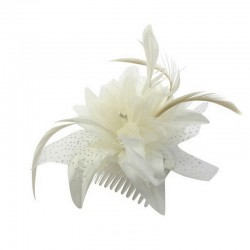 Chapeau mariage Fleur en voile ivoire sur peigne