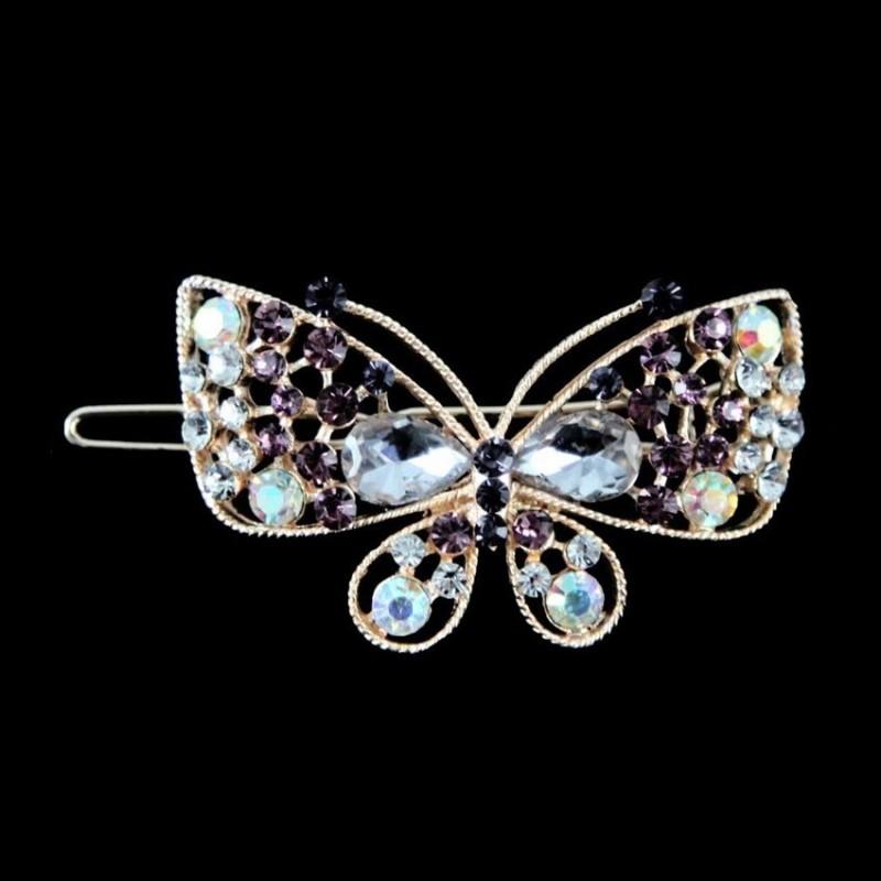 Barrette clip cheveux papillon cristal violet