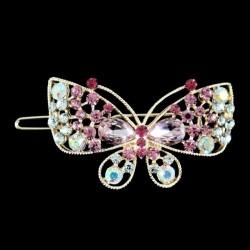 Barrette clip cheveux papillon cristal rose