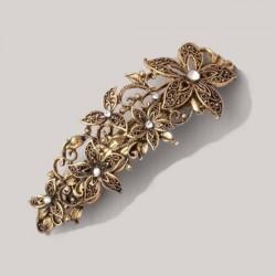 Barrette baroque cristal métal doré vintage