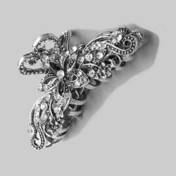 Pince clip cheveux baroque cristal métal argenté