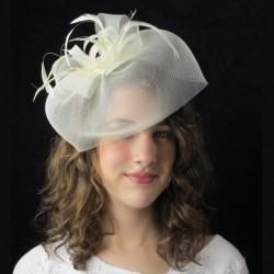 Chapeau mariage Bibi chapeau fascinateur ivoire avec noeud