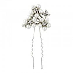 Epingle cheveux perles et cristaux