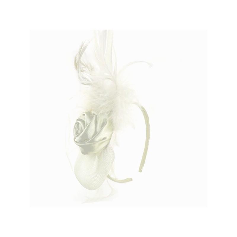 Chapeau mariage Bibi chapeau fascinateur ivoire avec rose