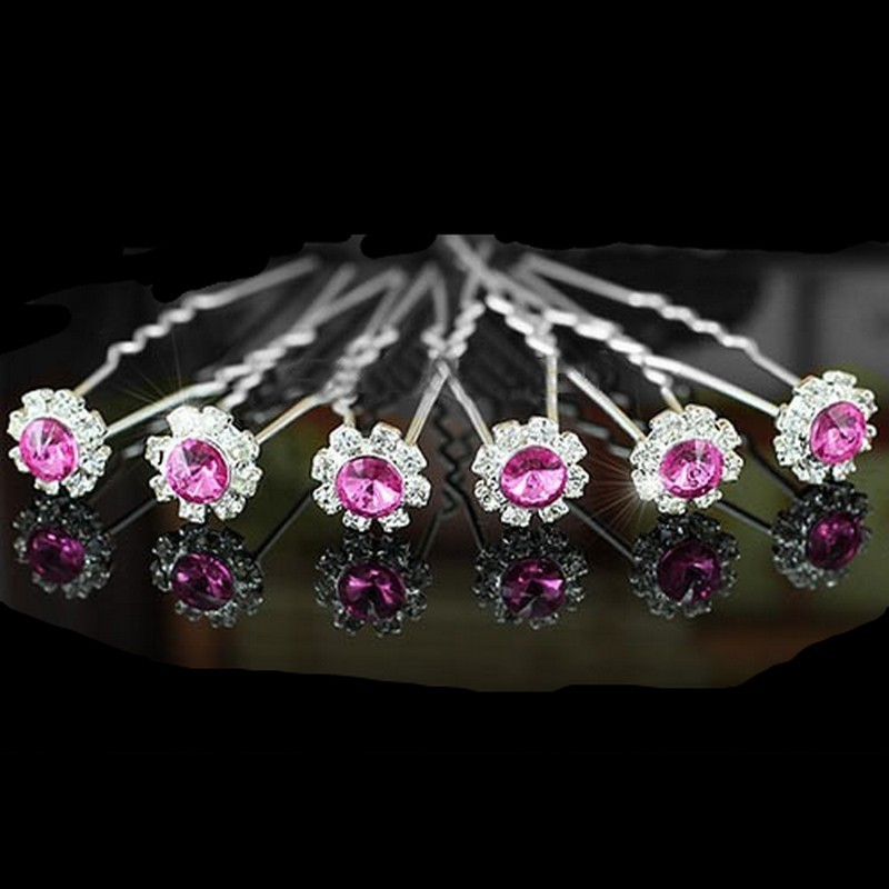 6 épingles fleurs cristal rose
