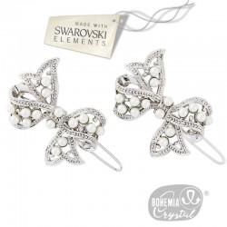 2 barrettes noeud cristal Swarovski et perles