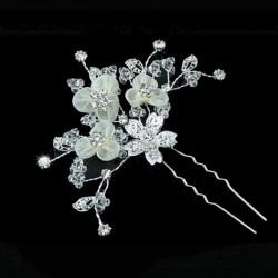 Epingle cheveux mariage fleurs ivoire et strass