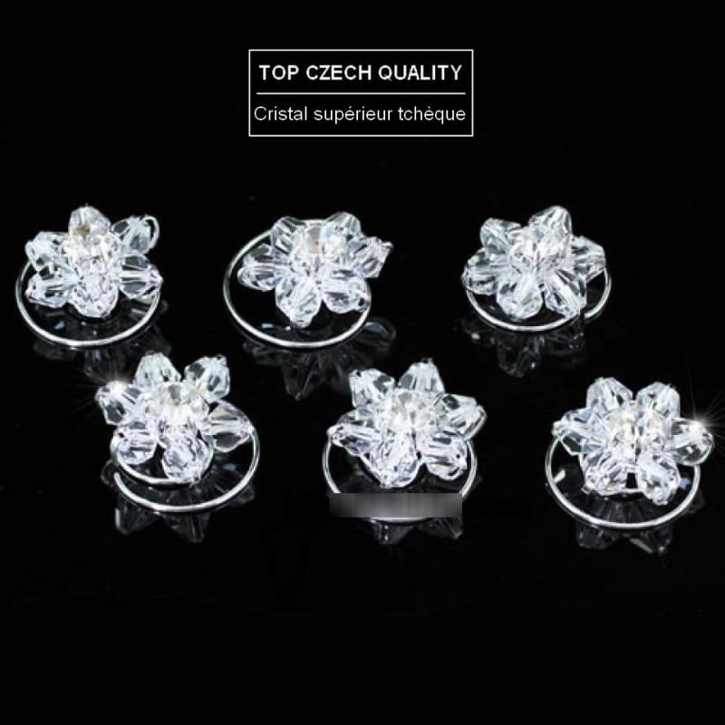 6 spirales cheveux fleur cristal