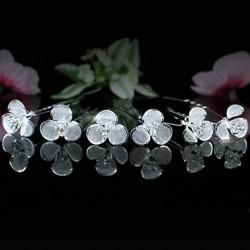 6 epingles cheveux fleurs cristal
