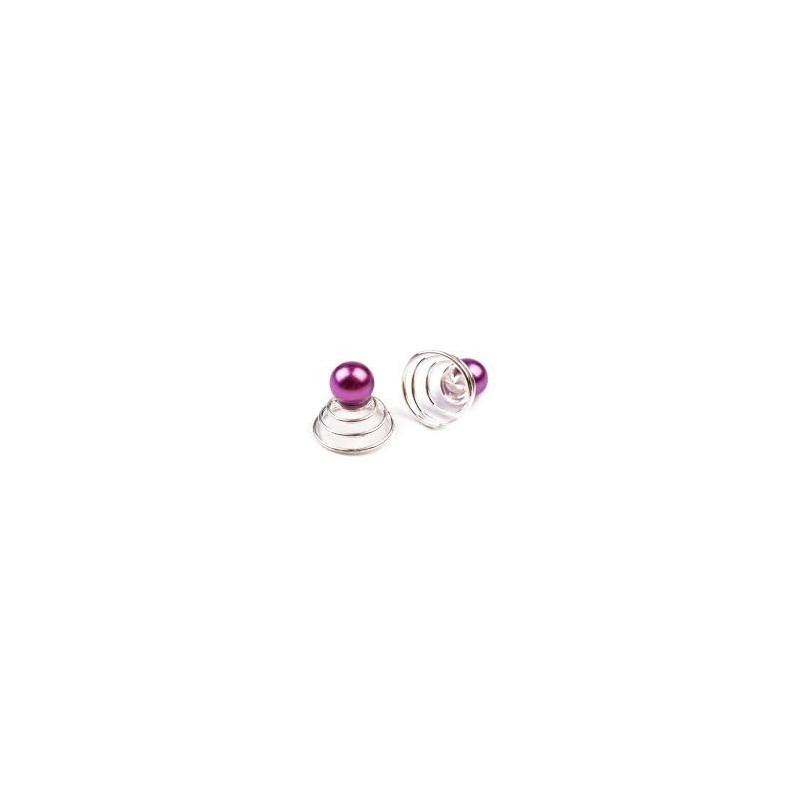 6 Spirales perle violet
