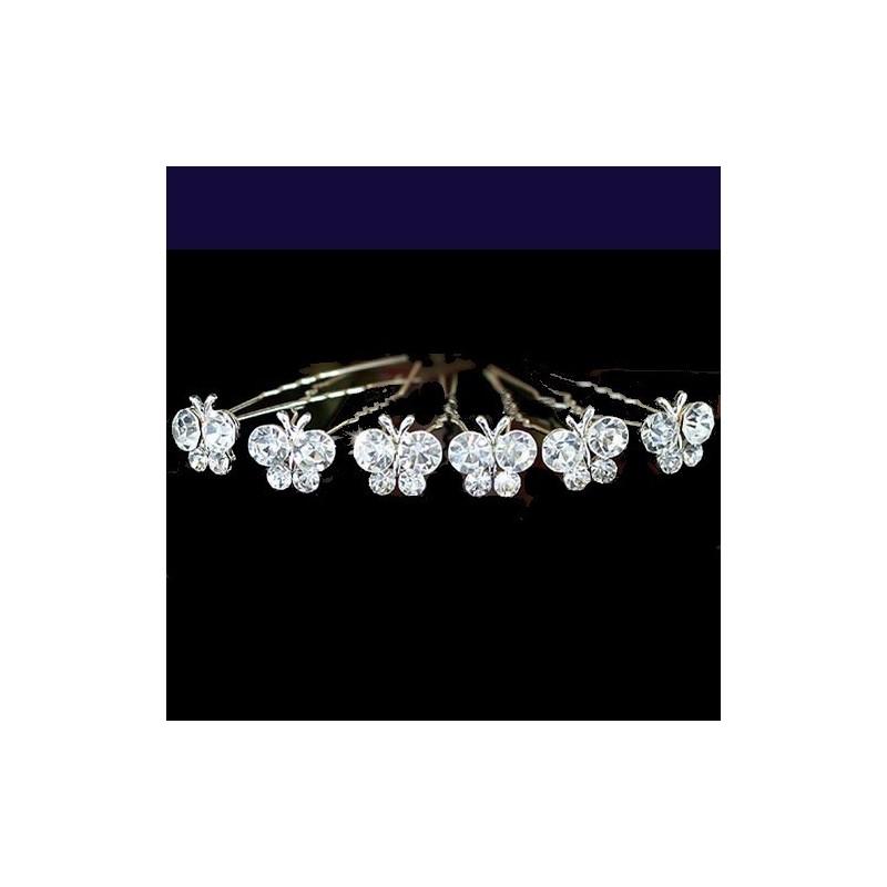 6 épingles cheveux papillons cristal