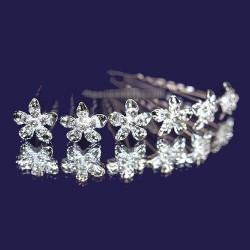 6 épingles cheveux fleurs coeur cristal
