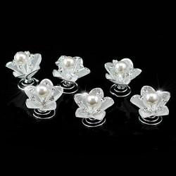 6 spirales fleurs perles