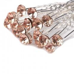 6 épingles cheveux cristal rose saumon peche
