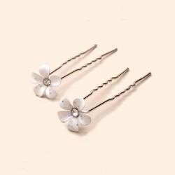 2 epingles cheveux fleurs cristal