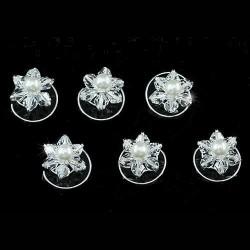6 spirales fleurs cristal perles