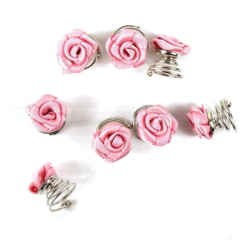 4 spirales cheveux twist fleur rose
