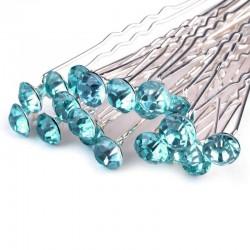 6 épingles cheveux cristal bleu turquoise