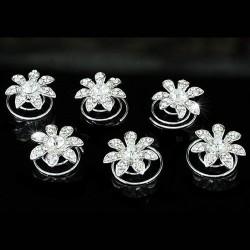 6 spirales mariage fleurs cristal