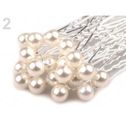 6 epingles cheveux perle ivoire