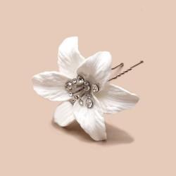 Epingle pour cheveux fleur coeur cristal