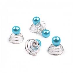 6 Spirales perle bleu turquoise