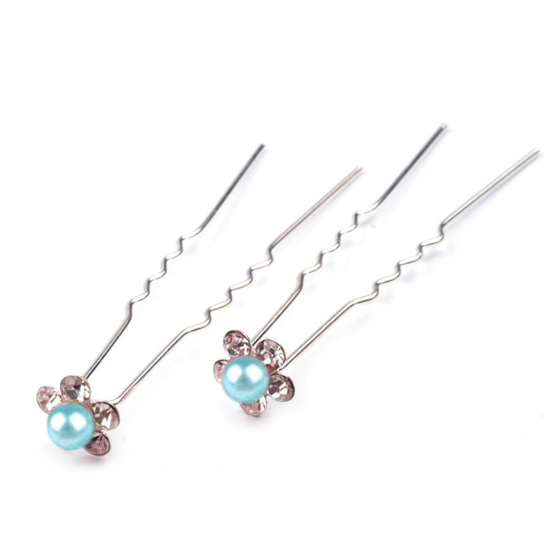 6 épingles cheveux fleurs perles cristal bleu