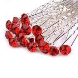 6 épingles cheveux cristal rouge