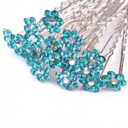 6 epingles cheveux fleurs cristal turquoise