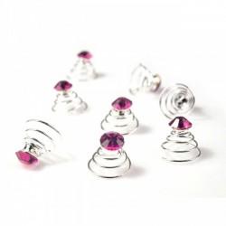 6 spirales cristal cristal rose fushia visser dans les cheveux