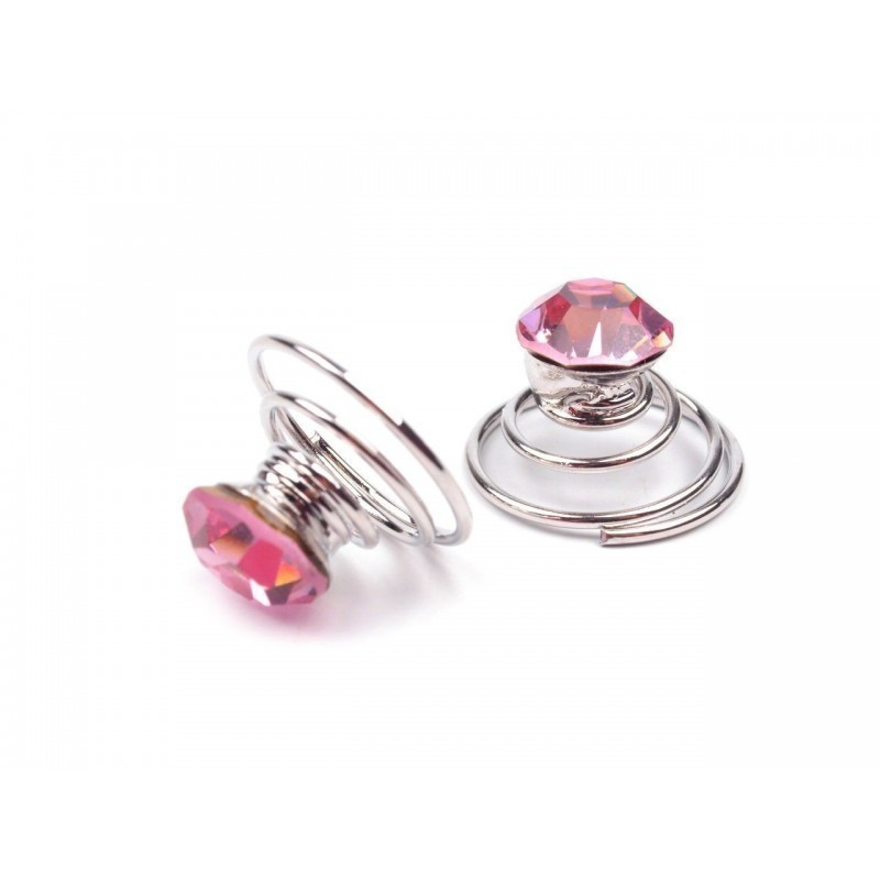 6 spirales cristal cristal rose clair