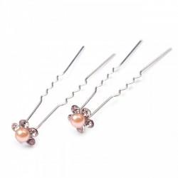 6 épingles cheveux fleurs perles cristal pêche abricot