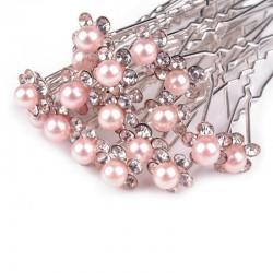 6 épingles cheveux fleurs perles cristal rose