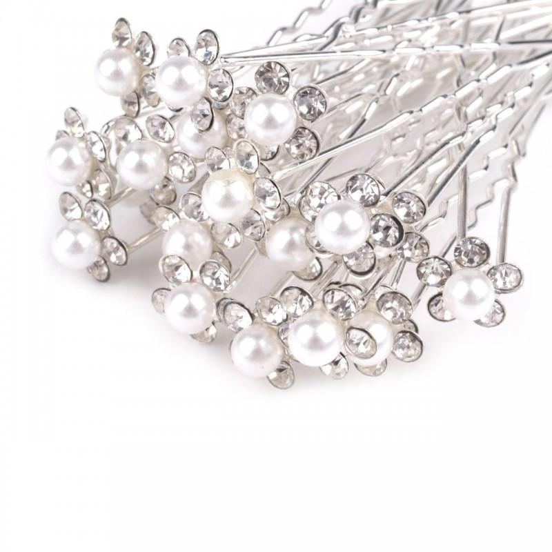 6 épingles cheveux perles cristal