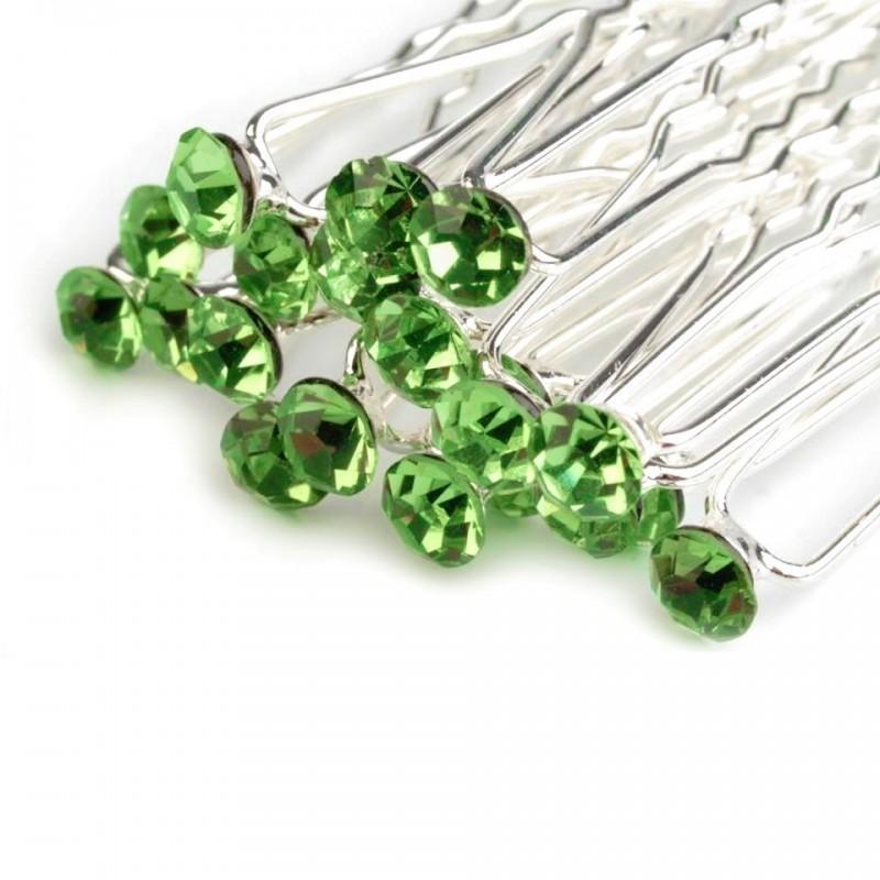 6 epingles cheveux vert anis cristal