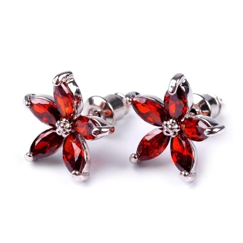 Boucles d oreilles fleurs rouge