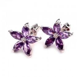 Boucles d oreilles fleurs violet