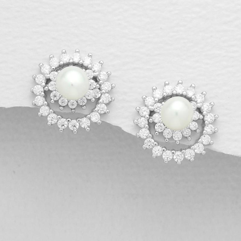 Boucles d oreilles anneaux fleurs perles cristal