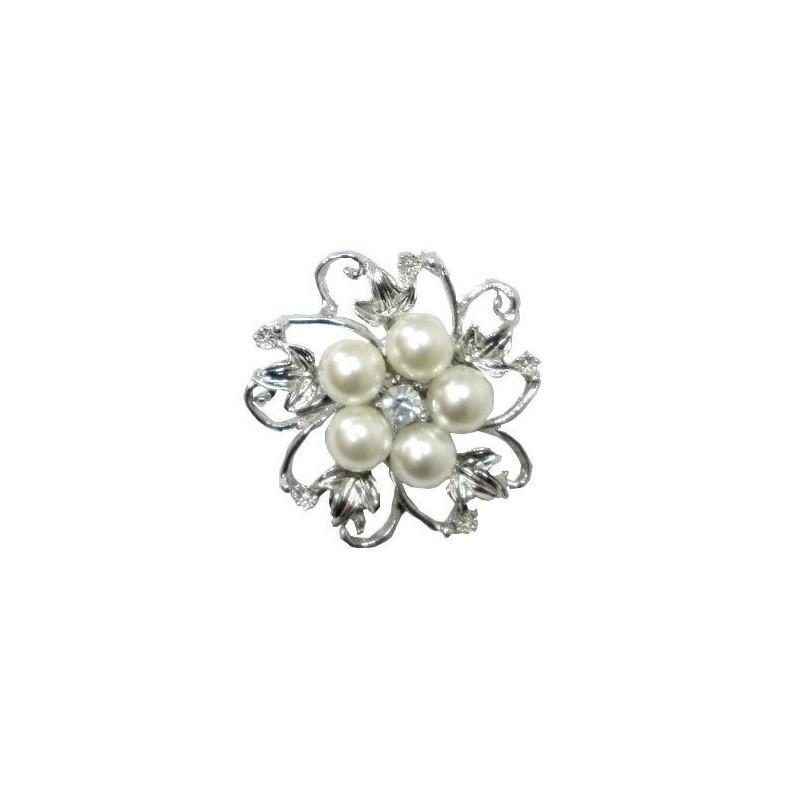 Broche strass perles ivoires et feuilles
