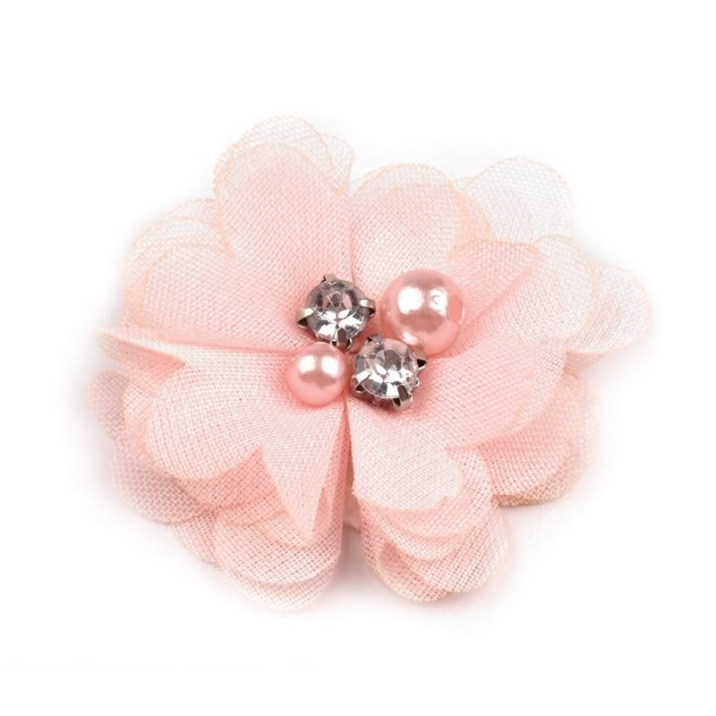Broche ou pince cheveux fleur voile rose, perles et strass