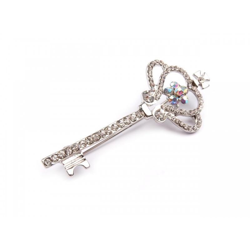 Broche clé et couronne en strass