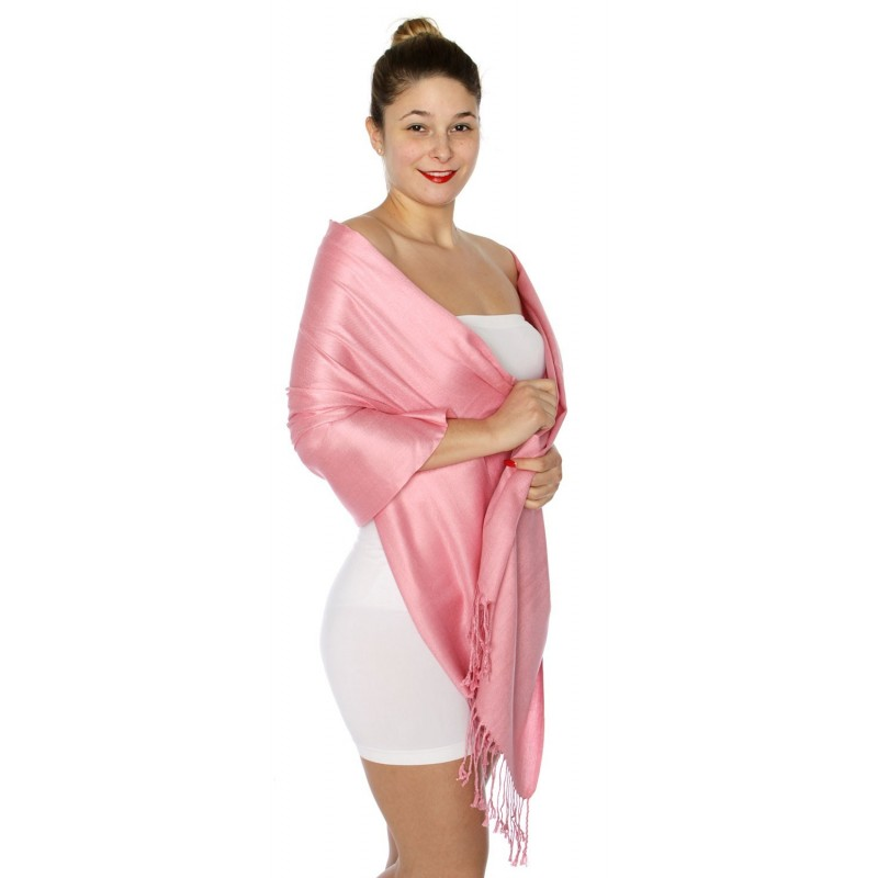 Foulard Etole pashmina rose poudré