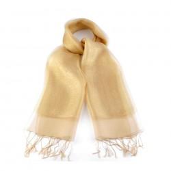 Etole en soie bi-matière jaune or