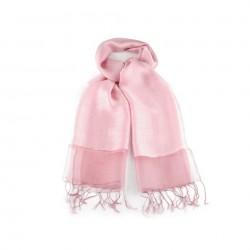 Foulard Etole en soie bi-matière rose