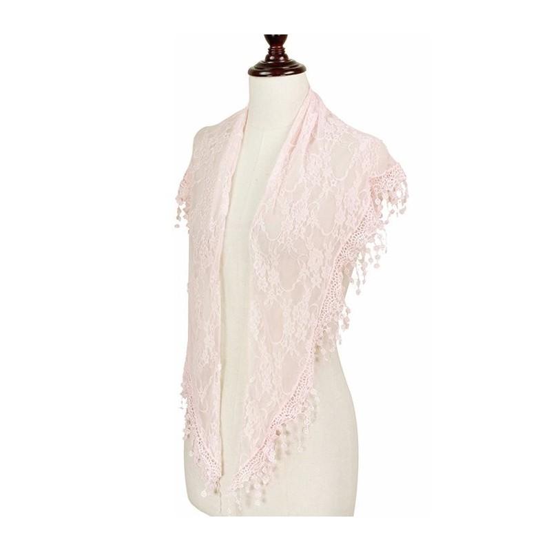 Foulard Etole pointe dentelle rose